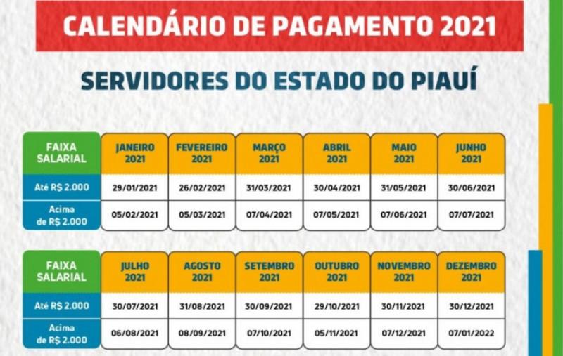 Calendário de pagamento dos Servidores Públicos do Piaui
