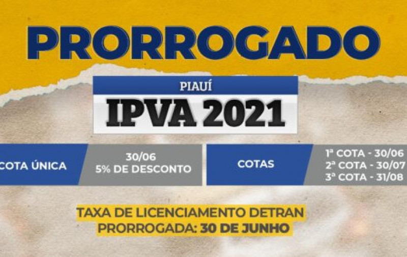 Governo prorroga pagamento da cota única do IPVA e taxa de licenciamento do Detran